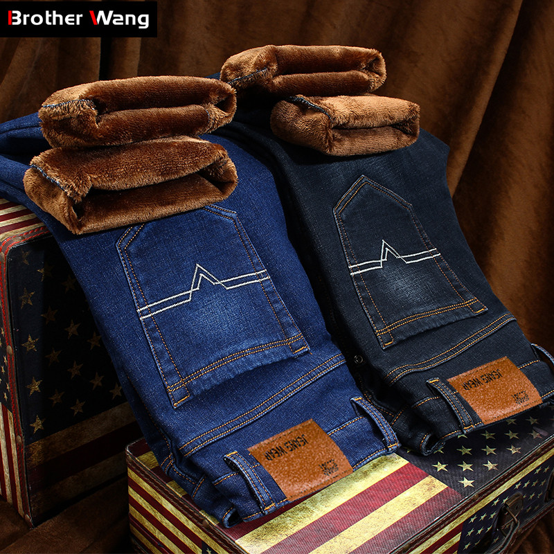 Winter Men's Warm Jeans Classic Style Thicken Denim Elastic Slim Fit Black Jean Pants Male Brand Casual Business Blue Trousers