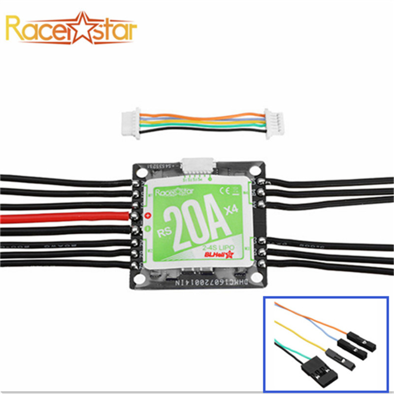 Racerstar RS20A x 4 20A 4 in 1 Blheli_S Opto ESC 2-4S Support Oneshot42 Multishot for FPV Racer Quadcopter Racing Drone DIY 2016 new arrival racerstar rs20a lites 20a blheli s bb2 2 4s brushless motor for fpv racer