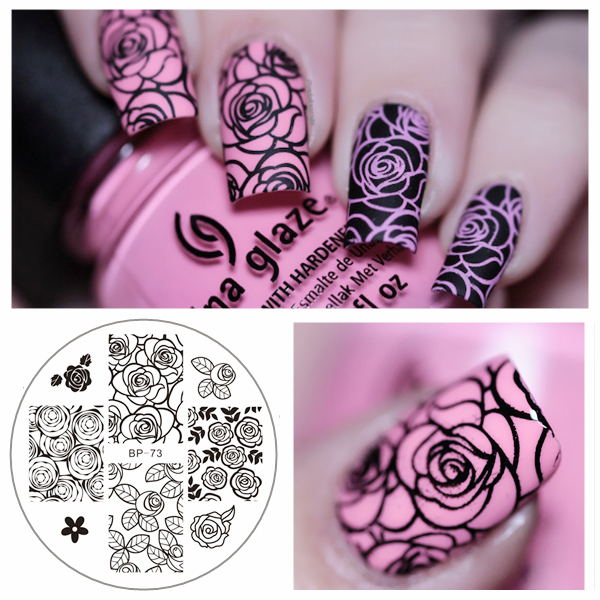 Rose Flower Nail Stamping Plates Manicure Stencil Set Cat Hot Sale ...