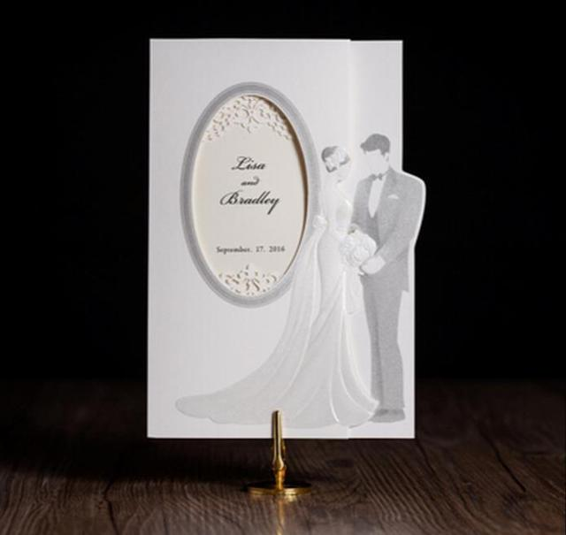 laser cut wedding invitations kits elegant romantic bride groom invites cards for marriage wedding decoration casamento - Brides Wedding Invitation Kits