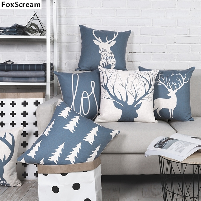 Blue Throw Pillows Blue Nordic Decorative Pillows Cases Geometric Cushion  Cover Home Decor Gray Deer Linen