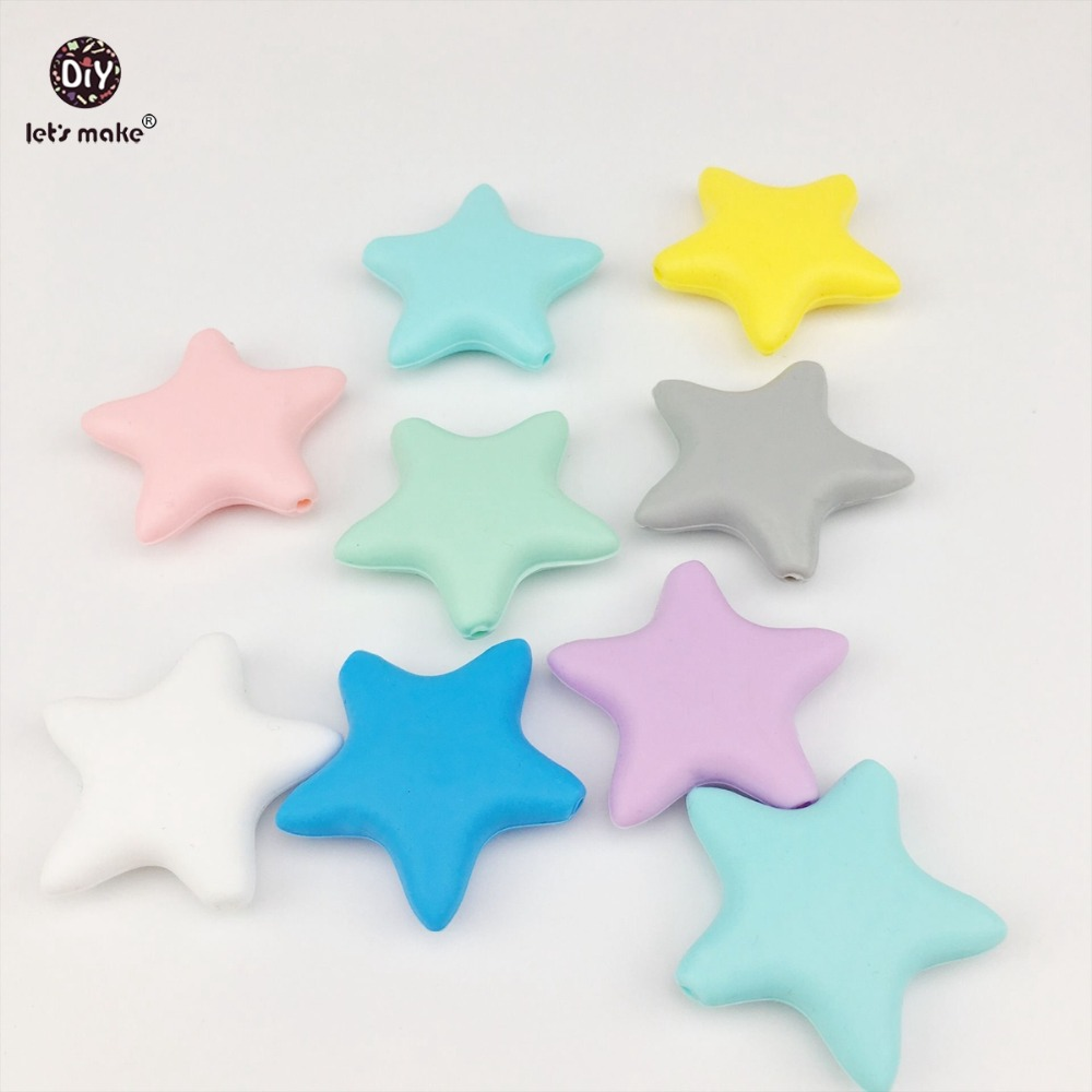 Lets Make 10pcs Silicone Star Baby Teething DIY Necklace Made Accessories BPA Free Food Grade Teether Chew Beads Baby Teether