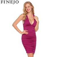 FINEJO Women Deep V Neck Sleeveless Party Pencil Dress 2018 Spring Sexy Solid Ruched Bodycon Dresses