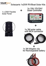 Solarparts 1x25W DIY RV/Boat Kits Solar System 1 x25W flexible solar panel 1x 10A solar controller 1 set 3M MC4 cable 1 set clip
