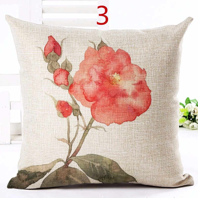 Nordic Style Red Flowers Printed Cushion Cover Decorative Sofa Throw Pillow Car Chair Home Decor Pillow Case Almofadas Cojines
