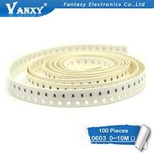 цена на 100pcs 0603 SMD 1/8W chip resistor resistors 0 ohm ~ 10M 0R 1K 4.7K 4K7 10K 100K 1 10 100 220 330 ohm 0R 1R 10R 100R 220R 330R