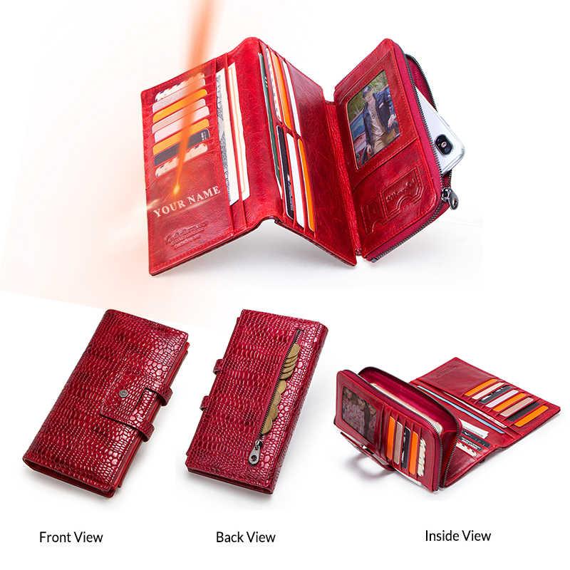 Kontakt's Echtem Leder Frauen Brieftasche Zipper Geldbörse Lange Walet Handy Tasche Karte Halter Damen Kupplung Marke Designer