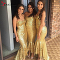 2016 Sparkly Mermaid Gold Sequins Cheap Bridesmaid Dresses Sweetheart High Low Gowns Ruffles Wedding Party Dresses Formal Gowns