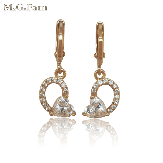 M.G.Fam Lead and Nickel Free 18 k Yellow Gold-Color Heart Drop Earrings Jewelry Fashion Women with Sunshine Zircon