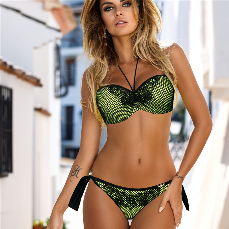Green Bandeau Sexy Swimwear Women Bikini Set Push Up Swimsuit Mesh Strap Summer Bathing Suit Bather Maillot De Bain Beachwear