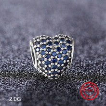 925 Silver Cubic Zirconia Charm Beads for DIY Pandora Jewelry Bracelet Necklace Original