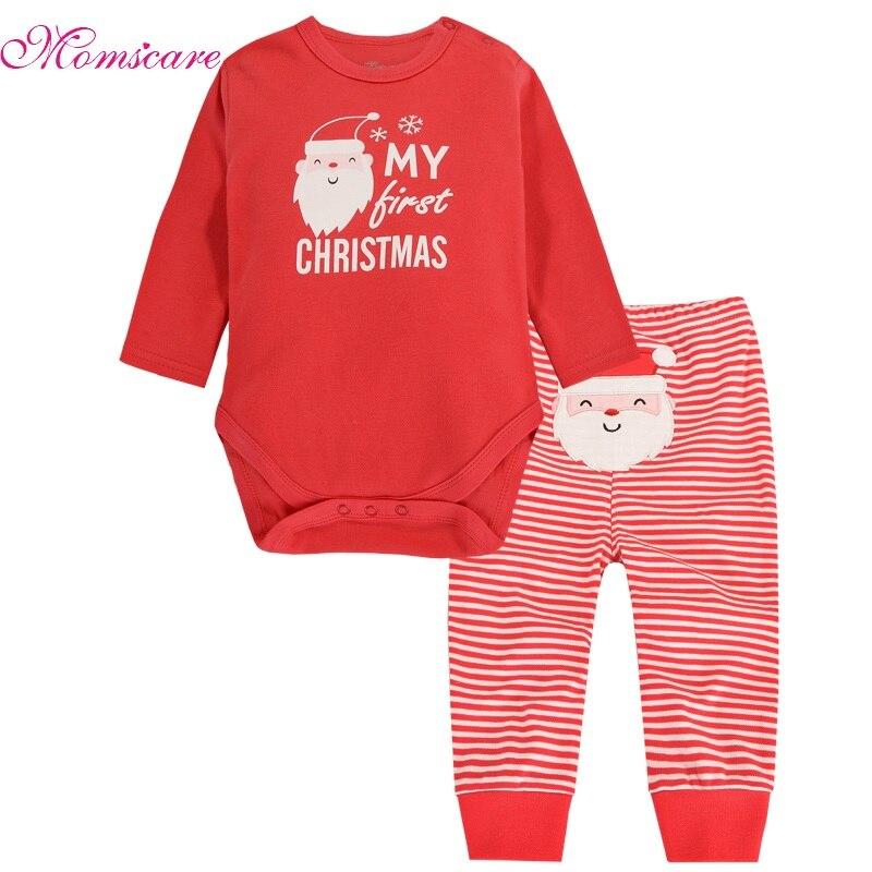 2 шт. Одежда для маленьких девочек и мальчиков комплект с длинным рукавом Комбинезоны для малышек и Брюки для девочек Рождество комплект для...