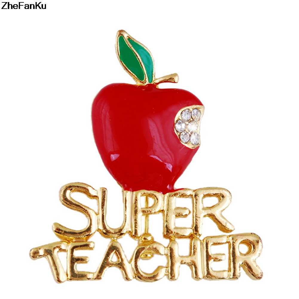 1Pc Exquisite Super Teacher Letters Apple Brooches Pins For Women Crystal Enamel Brooch Wedding Accessory Christmas Gift