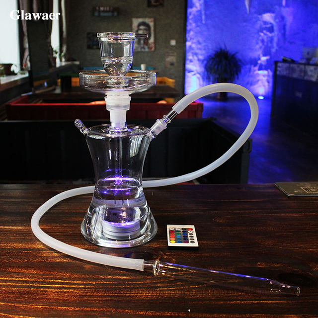 Glawaer Small Russian style Glass Hookahs Huge Vapor Shisha Chicha Vaporizer Narguiles Smoking Water Pipes With LED Light