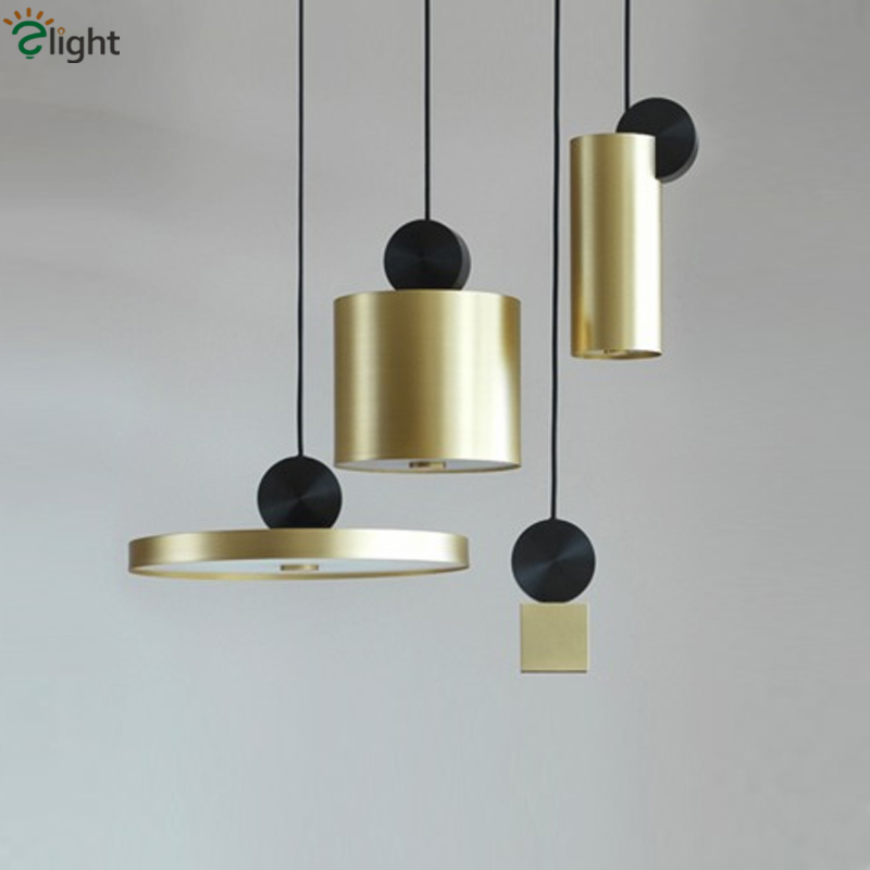 Nordic Brush Gold Led Chip Lustre Pendant Lights Metal Droplight For Dining Table Indoor Lighting Hanging Lamp Fixtures nordic lustre luminaire hand knited metal net led pendant light gu10 and led chip lighting fixtures cloud led suspension lamp
