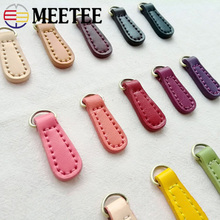 Meetee 10pcs 1.4*4cm Two-layer Cowhide Zipper Puller Lock Head DIY Hand Sewing Clothing Luggage Buckle Pendant ZT003