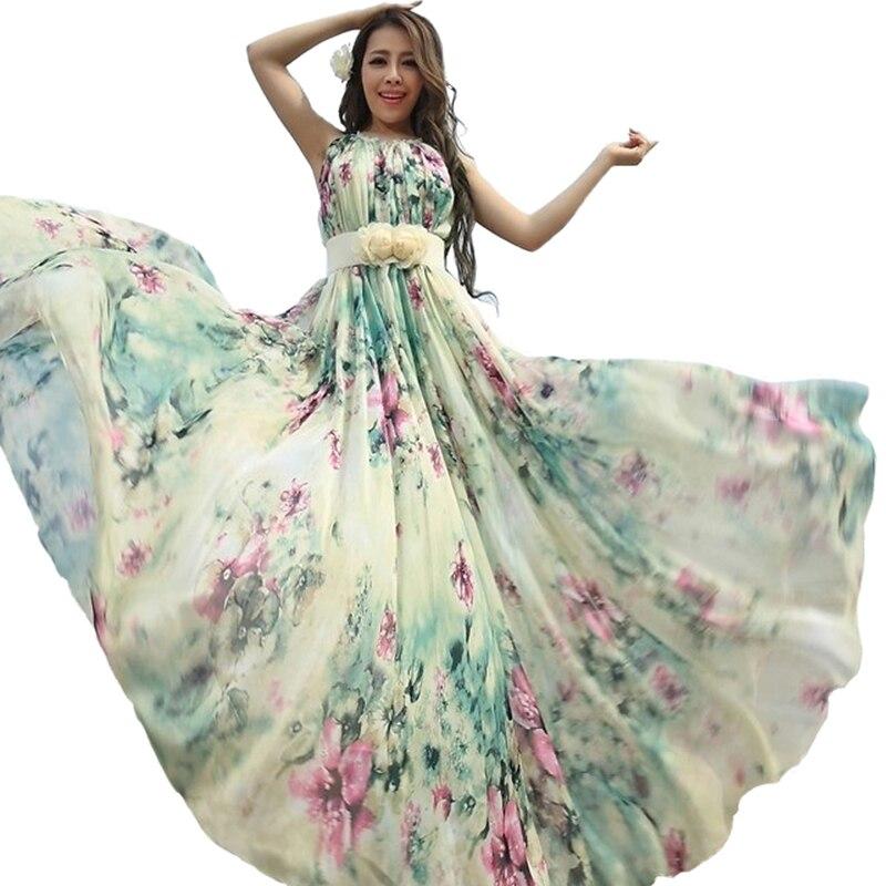 Été Floral longue en mousseline de soie Maxi robe robe grandes tailles célébrité/graduation/dîner robe plage demoiselle d'honneur robe d'été