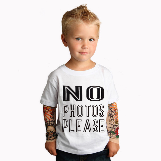 45fdc2c84d0e Одежда для мальчиков хлопковые футболки 2018 новая татуировка рукава no  photos Please футболки Весна и Осень