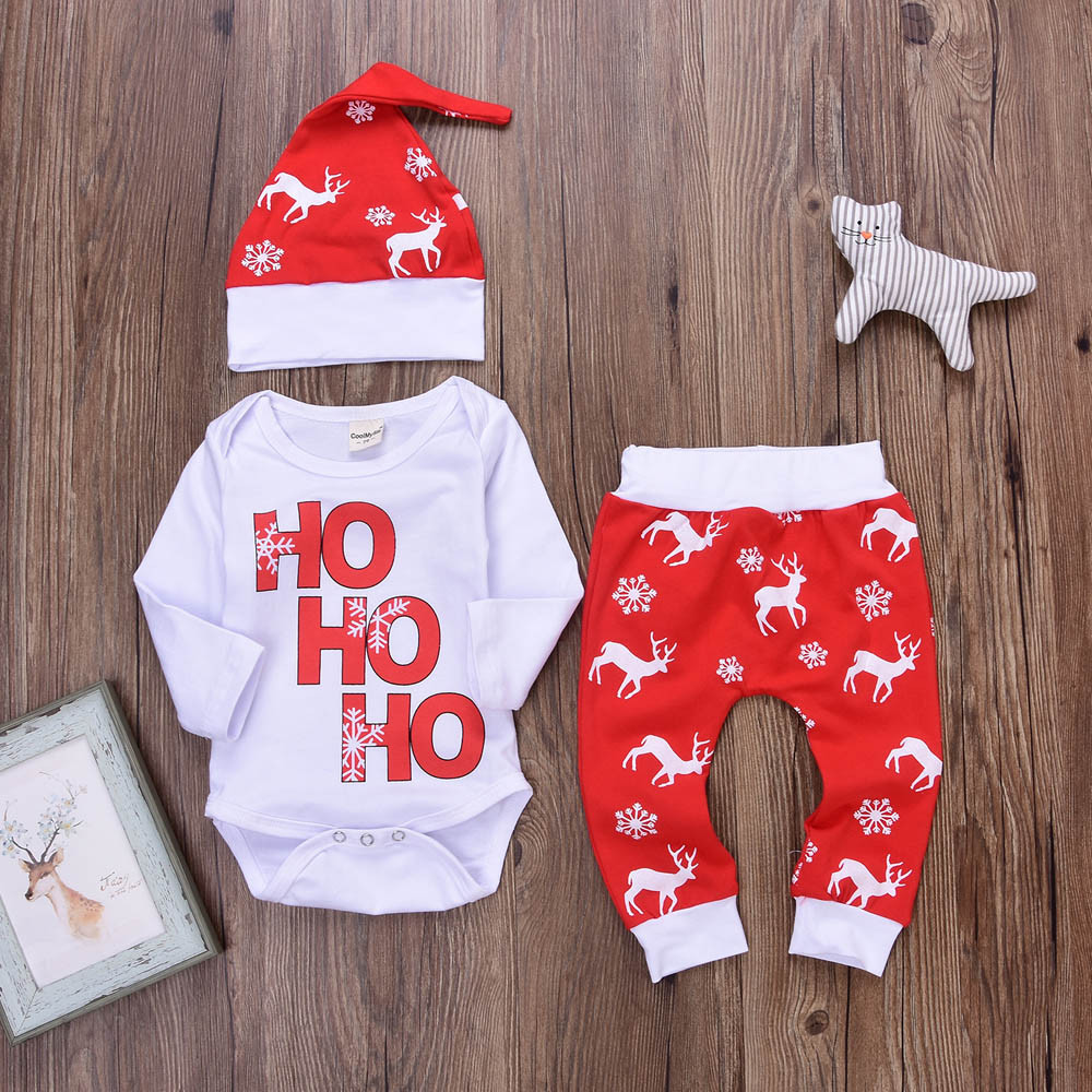 все цены на New dropship Xmas Newborn Infant Baby Boy Girl Romper Tops+Pants Christmas Deer Outfits Set Long Sleeve Winter Clothes T#