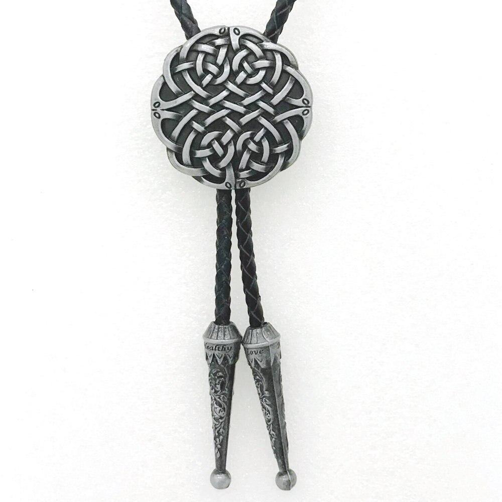 Ocidental cowboy Tang cao patten retro prata galvanoplastia de metal BOLO LAÇO acessório casual para homens e mulheres colar de couro corda
