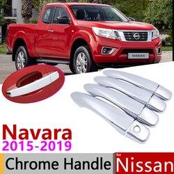 Dla Nissan Navara NP300 Navara D23 marki Renault Alaskan 2015 ~ 2019 chromowana klamka pokrywa naklejki do samochodów tapicerka zestaw 2017 Naklejki samochodowe Samochody i motocykle -