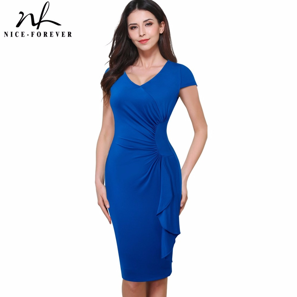 Nice-forever New Vintage Ruffle Ruched Waist Wear to Work Cap Sleeve O-Neck Bodycon Woman Office Pencil Summer Dress B388