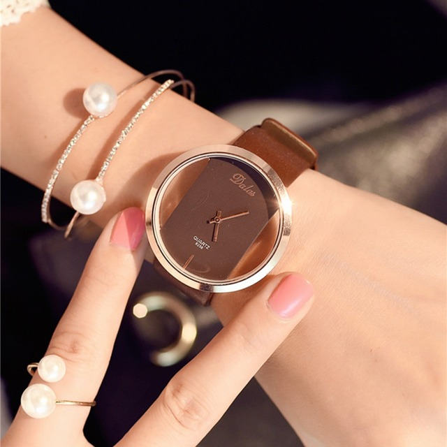 Hot Fashion Women Watch Luxury Leather Skeleton Strap Watch Women Dress Watch Casual Quartz Watch Reloj Mujer Wristwatch Girl 3