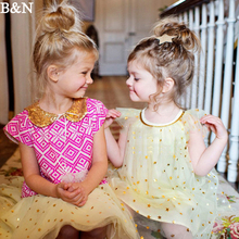 B&N Girls Pageant Sequins Star Princess Party Dress Mesh Tulle Christmas Ball Gown Tutu Casual Chiffon Sleeveless For Kids Cloth