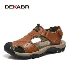 Мужские сандалии из натуральной кожи DEKABR, коричневые брендовые пляжные слиперы для воды, воздухопроницаемые повседневные слиперы, лето 2020