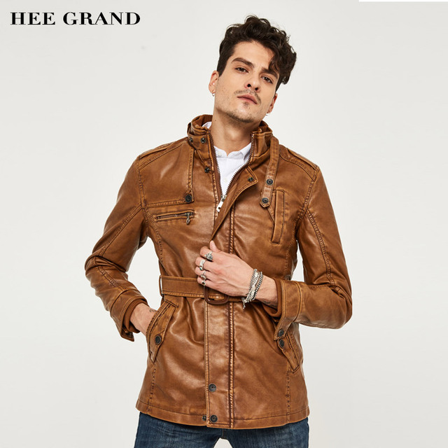 HEE GRAND Men's PU Leather Jacket Middle-Long Style New Arrival Fashion Faux Leather Casual Motorcycle Stand Fashion Coat MWP218