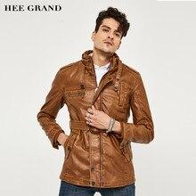 ХИ ГРАНД мужская PU Кожаная Куртка Среднего Долго Стиль Нового Способа Прибытия Искусственная Кожа Повседневная Мотоциклов Стенд Мода пальто MWP218(China (Mainland))
