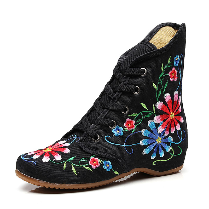 Image 4 - Veowalk Retro Women Embroidered Cotton Lace up Short Flat Boots,Autumn Ladies Casual Chinese Embroidery Shoes Comfort BootiesAnkle Boots   -