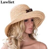 Raffia Straw Hat Summer Hats for Women Wide Brim Floppy Hats Female Beach Hat with Floral Design A348
