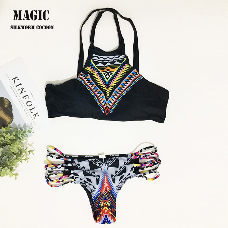 c7d89c4df7955 2018 Women Bikinis High Neck Push up Bikini Set Geometry Black Swimwear  Female Slim Print Swimsuit Biquini brazilian Beach