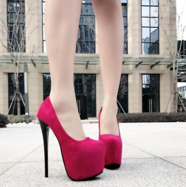 17Cm ultra-high heels fine heels women's shoes single shoes pointed waterproof platform small code high heels sexy. 4