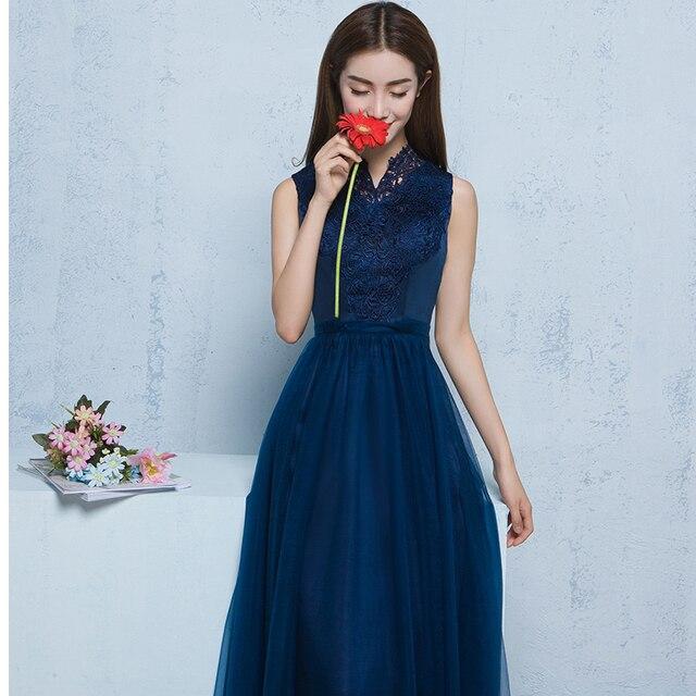 Kleid dunkelblau bodenlang
