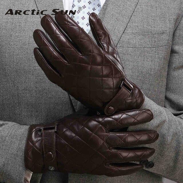 Guantes de piel auténtica Lisa para hombre, guantes de piel de oveja a la moda, de terciopelo, para invierno térmico, M020NC, 2020