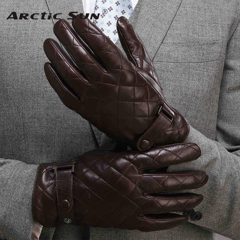 New Arrival 2020 Men Gloves Wrist Solid Real Genuine Leather Fashion Thermal Winter Sheepskin Glove Plus Velvet M020NC