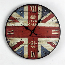 "Hot Sale ""KEEP CALM AND CARRY ON"" Union Flag Wood Wall Clock Vintage Art Electric Digital Clocks for Livingroom Christmas Gift"