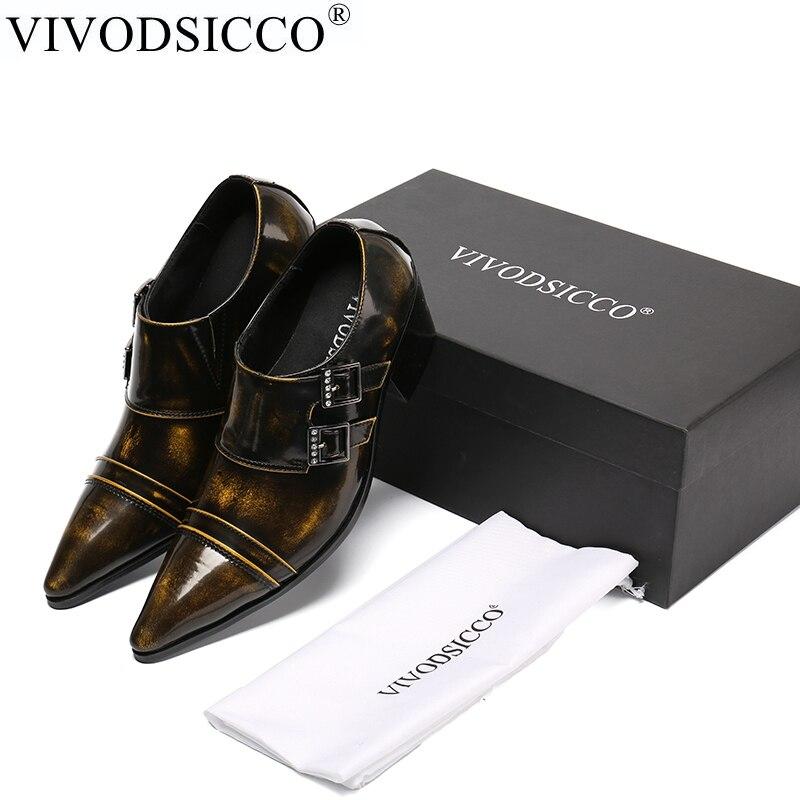 купить VIVODSICCO New Classic Retro Business Men Dress Shoes Fashion Man Genuine Leather Sanke Wedding Shoes Social Sapato Male Shoes недорого