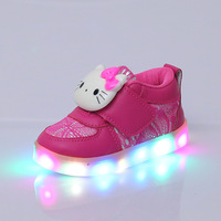 2017 New Design Spring Autumn Girls Hello KittyLight Shoes For Children Cartoon LED Flash Kids Sneakers