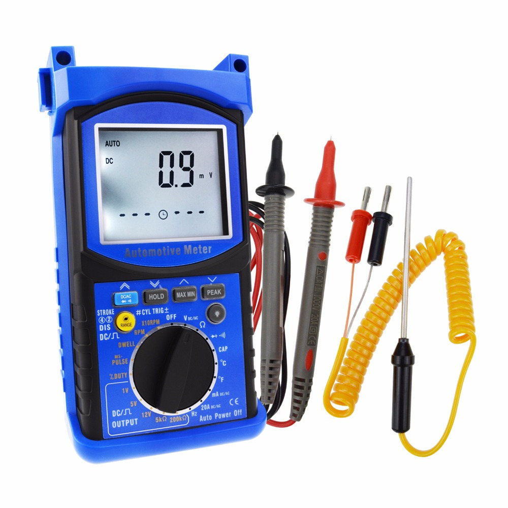 Tachometer, Dwell Angle Engine Analyzer Multimeter Instrument Digital 6000 Counts Meter Auto-Ranging Tester DC AC Voltage