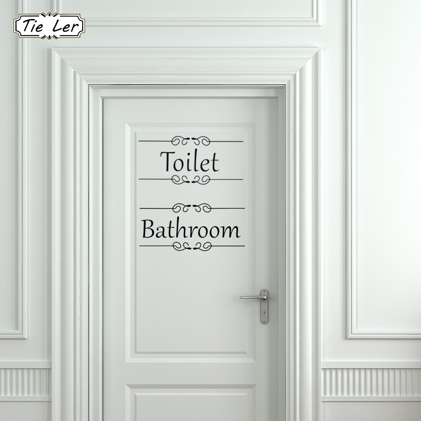 Vintage Wall Sticker Bathroom Decor Toilet Door Vinyl Decal Transfer Vintage Decoration Wall Art Home Decor Sticker