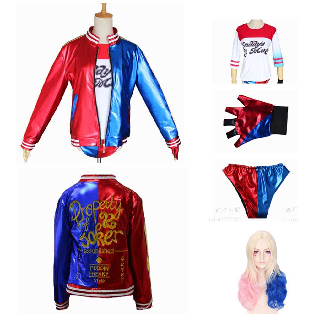Adult Women Harley Quinn Ripped T-Shirt Short Pants Jacket Suicide Squad Cosplay Halloween Costume Set And Wig