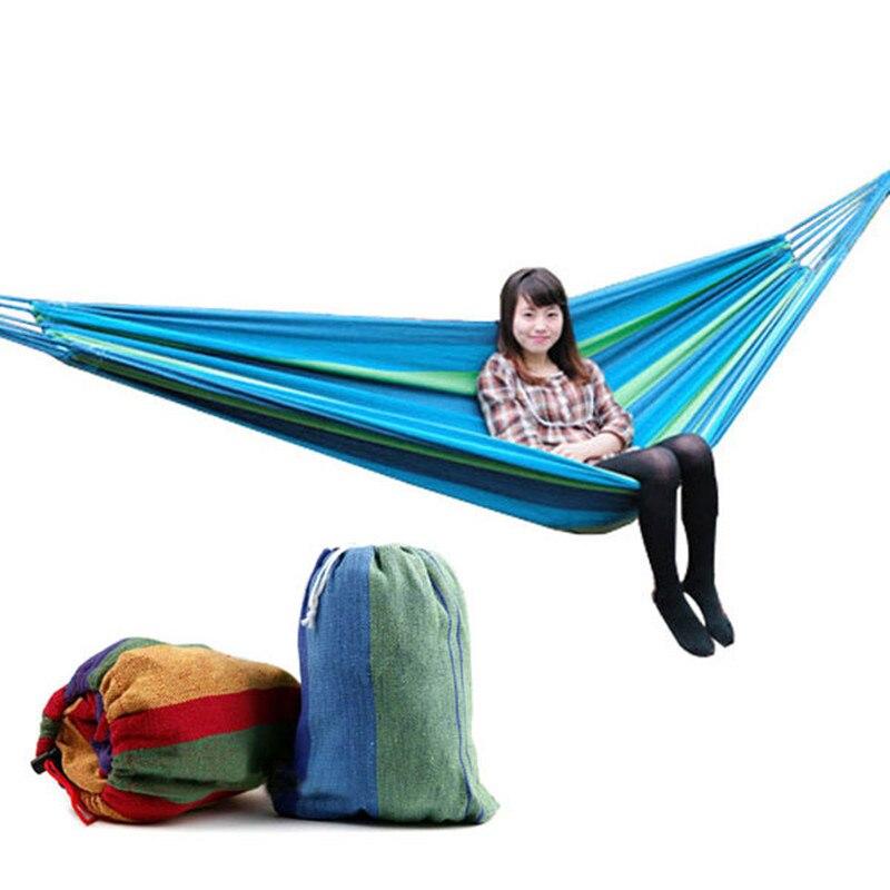 200x80cm High Quality Portable Outdoor Garden Hammock Hang BED Travel Camping Garden Swing Chair Canvas Stripe hamac