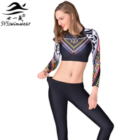 High Quality Sexy Long Sleeves Two Pieces Women Swimwear Surfing Cycling Swimming Trousers Girl Sport Clothes