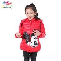 Belababy Girl Winter Jacket Cartoon Kids Thick Warm Outerwear Children Hooded Coat Long Jackets For Girls