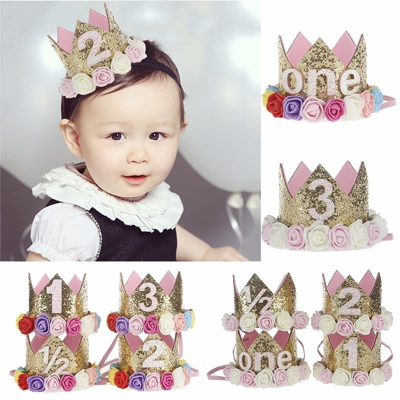 314bf7d2b22 Girl First Birthday Decor 1st Flower Party Crown One 2nd Three Year Old  Number Priness Pink Hat Baby Hair Accessory