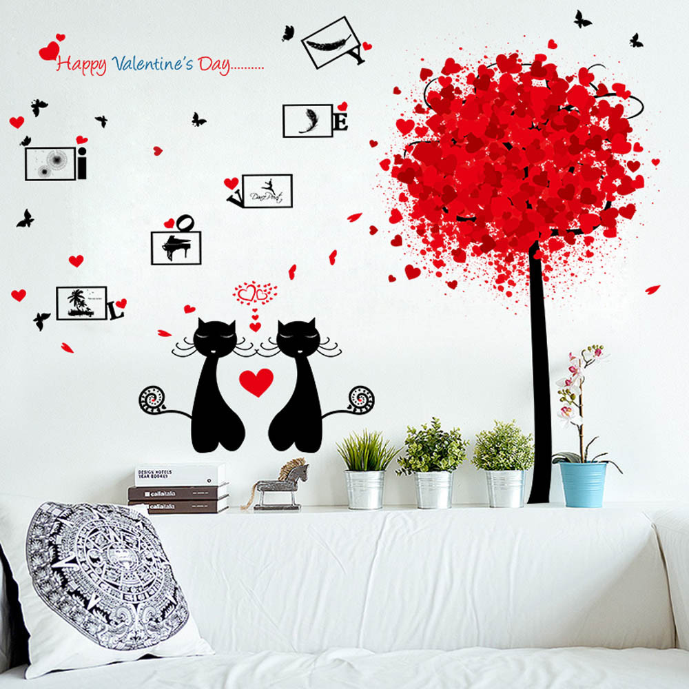 Eyes wall stickers wow modern beauty salon valentine wall decoration - Cute Couple Cat Wall Stickers Happy Valentines Day Romantic Home Decor Wall Stickers For Bedroom Decoration