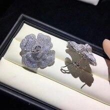 Гипербола 925 Стерлинговое Серебро с кубическим цирконием цветок серьги гвоздики большой цветок крупные серьги Камелия розовый синий белый цвет